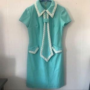 Blue Seafoam Vintage Tie Dress